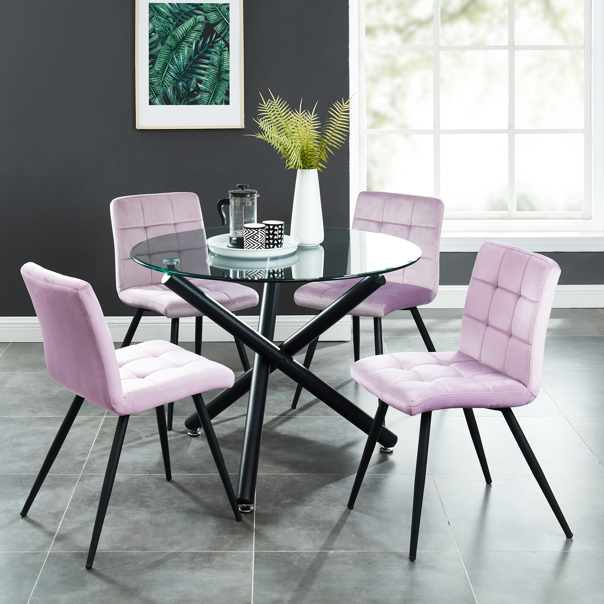 Suzette Rose 5 Pc Dining Set Package Splendid Furnishings