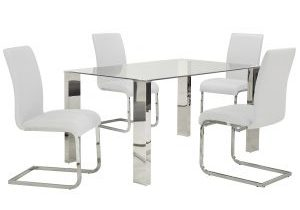 Frankfurt Maxim 5 Pc Dining Package Chrome White